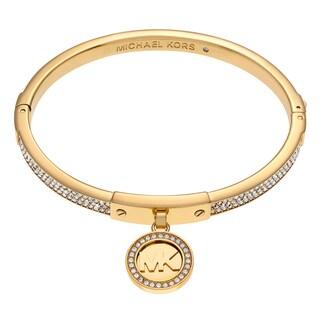 Michael Kors Goldtone Stainless Steel Crystal Pave Logo Disc Charm Hinged Bangle Bracelet
