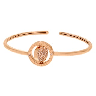 Michael Kors Rose Goldtone Stainless Steel Crystal Accent Logo Disk Adjustable Cuff Bracelet