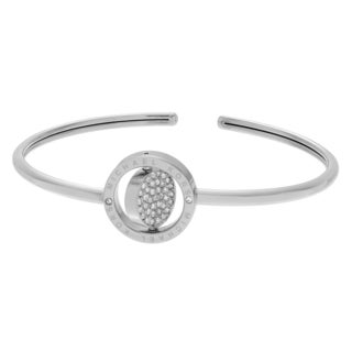Michael Kors Silvertone Stainless Steel Crystal Accent Logo Flip Disk Adjustable Cuff Bracelet