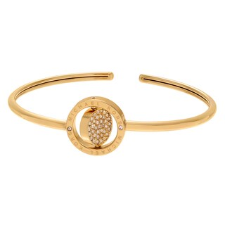 Michael Kors Goldtone Stainless Steel Crystal Flip Logo Disc Adjustable Cuff Bracelet