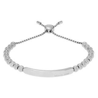 Michael Kors Silvertone Stainless Steel Logo Bar Beaded Slider Bracelet