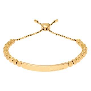 Michael Kors Goldtone Stainless Steel Bar Logo Beaded Slider Bracelet