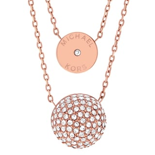 Michael Kors Rose Goldtone Stainless Steel Crystal Accent Double Pendant Necklace