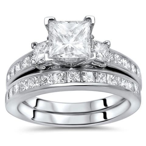 14K Gold 2 1/4ct Princess Cut Diamond Enhanced Three Stone Engagement Ring Set - White