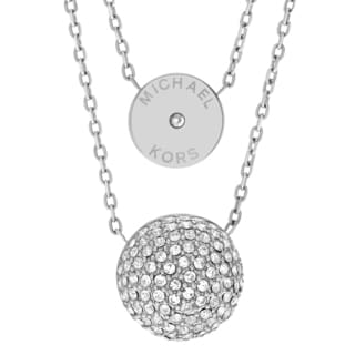 Michael Kors Silvertone Stainless Steel Crystal Accent Double Pendant Necklace