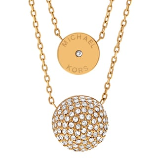 Michael Kors Goldtone Stainless Steel Crystal Accent Dual Chain Necklace