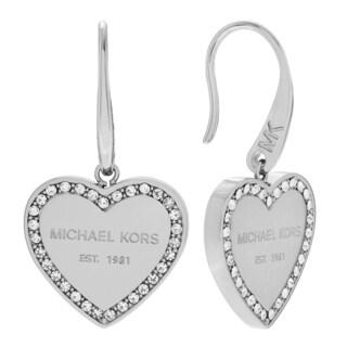 Michael Kors Silvertone Stainless Steel Crystal Accent Heart Logo Dangle Earrings