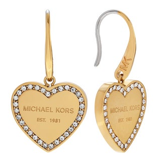 Michael Kors Goldtone Stainless Steel Crystal Pave Heart Logo Dangle Earrings