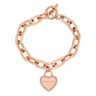 Michael Kors Rose Goldtone Stainless Steel Crystal Pave Logo Heart Charm Toggle Bracelet