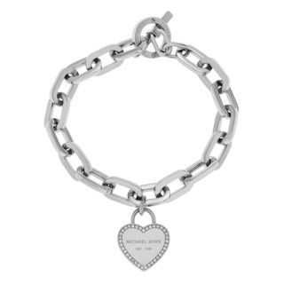 Michael Kors Silvertone Stainless Steel Crystal Accent Logo Heart Charm Toggle Bracelet