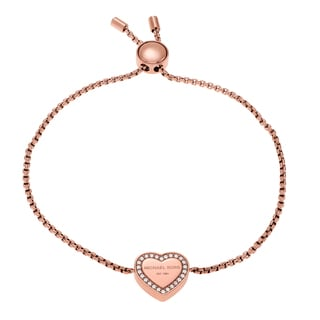 Michael Kors Rose Goldtone Stainless Steel Crystal Pave Heart Logo Slider Bracelet