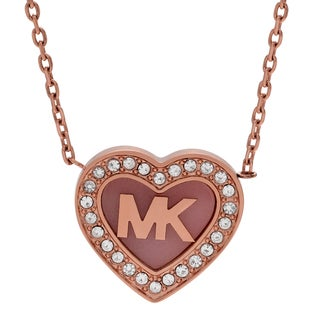 Michael Kors Rose Goldtone Stainless Steel Crystal Pave Logo Heart Necklace