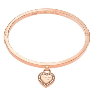 Michael Kors Rose Goldtone Stainless Steel Crystal Accent Heart Charm Logo Bangle Bracelet