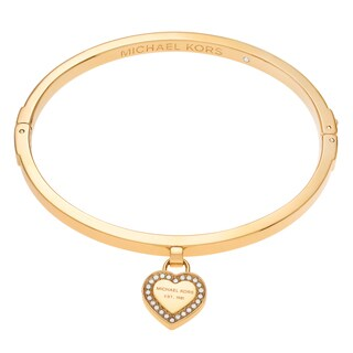 Michael Kors Goldtone Stainless Steel Crystal Accent Logo Heart Charm Bangle Bracelet