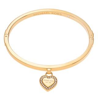 Michael Kors Goldtone Stainless Steel Crystal Accent Logo Heart Charm Bangle Bracelet