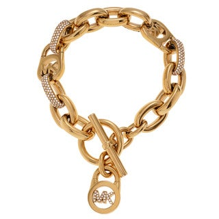 Michael Kors Goldtone Stainless Steel Crystal Logo Padlock Toggle Bracelet