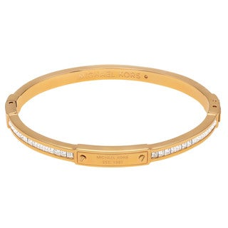 Michael Kors Goldtone Stainless Steel Crystal Accent Logo Hinged Bangle Bracelet