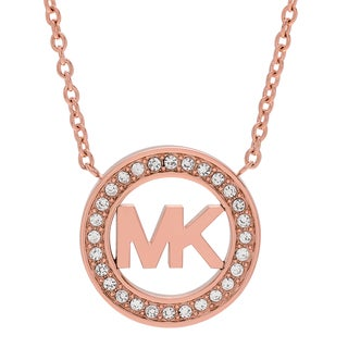 Michael Kors Rose Goldtone Stainless Steel Crystal Pave Logo Circle Necklace