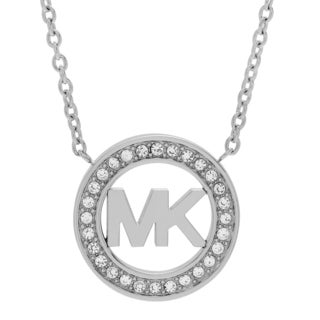 Michael Kors Silvertone Stainless Steel Crystal Pave Logo Circle Necklace