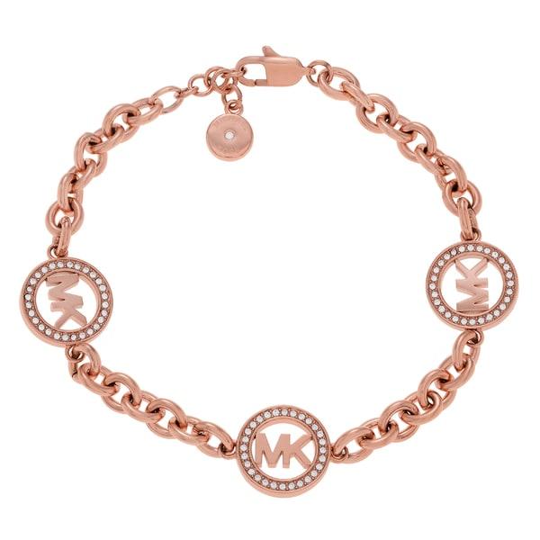 20620b20da4e Michael Kors Rose Goldtone Stainless Steel Crystal Accent Circle Logo Charm Link  Bracelet