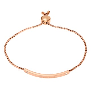 Michael Kors Rose Goldtone Stainless Steel Bar Logo Pendant Slider Bracelet
