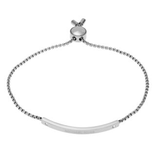 Michael Kors Silvertone Stainless Steel Crystal Logo Bar Pendant Adjustable Slider Bracelet
