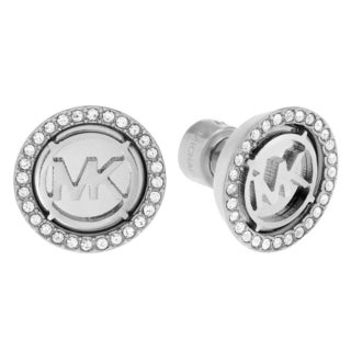 Michael Kors Silvertone Stainless Steel Crystal Accent Logo Disc Stud Earrings