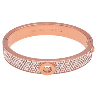 Michael Kors Rose Goldtone Stainless Steel Crystal Pave Logo Hinged Bangle Bracelet