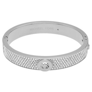 Michael Kors Silvertone Stainless Steel Crystal Pave Logo Hinged Bangle Bracelet