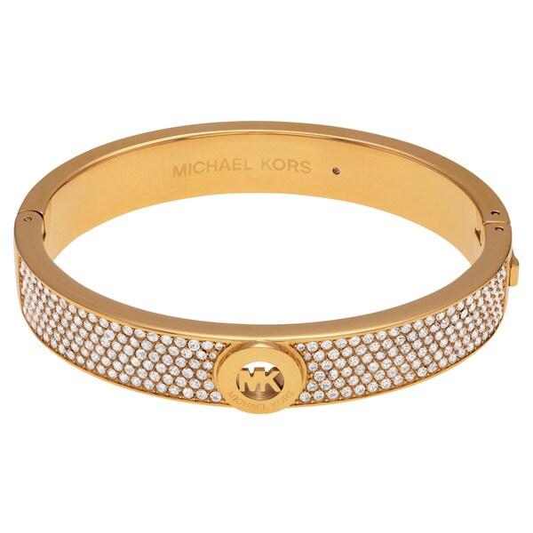 86f01deab6d44 Michael Kors Goldtone Stainless Steel Crystal Pave Logo Hinged Bangle  Bracelet