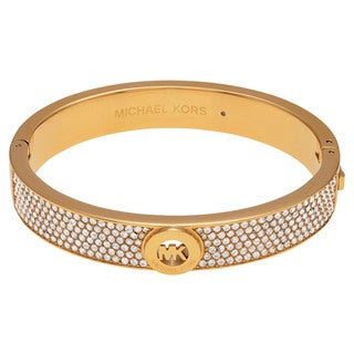 Michael Kors Goldtone Stainless Steel Crystal Pave Logo Hinged Bangle Bracelet