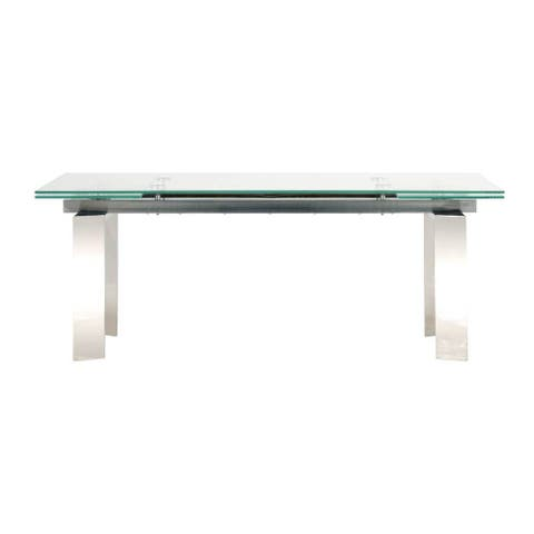 Luke 79-inch Stainless Steel and Glass Extension Dining Table - Silver