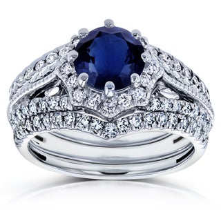 Annello by Kobelli 14k White Gold Blue Sapphire and 5/8ct TDW Diamond Star Halo 3-Ring Bridal Set (H-I, I1-I2)