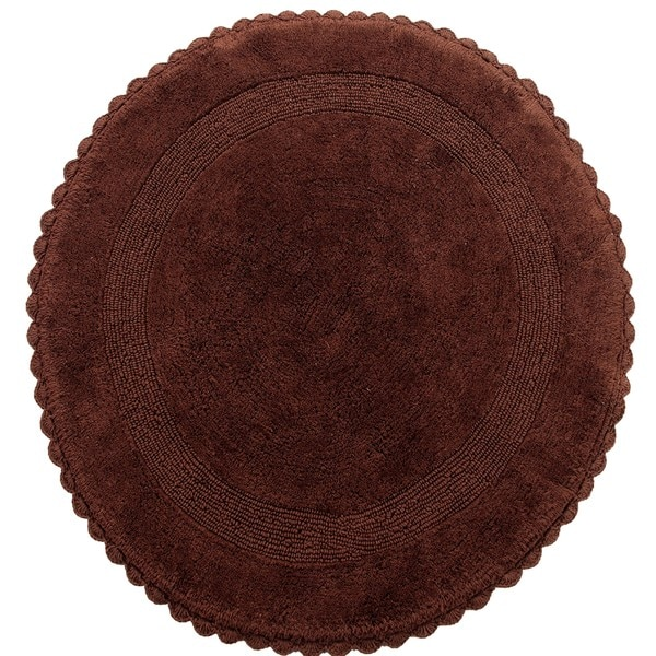 Saffron Fabs 36-inch Cotton Round Hand-Knitted Lace Border Bath Rug
