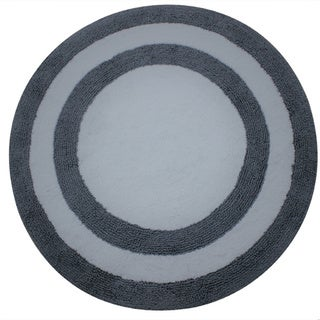 Saffron Fabs Soft Cotton 36-inch Round Two-Tone Reversible Bath Rug
