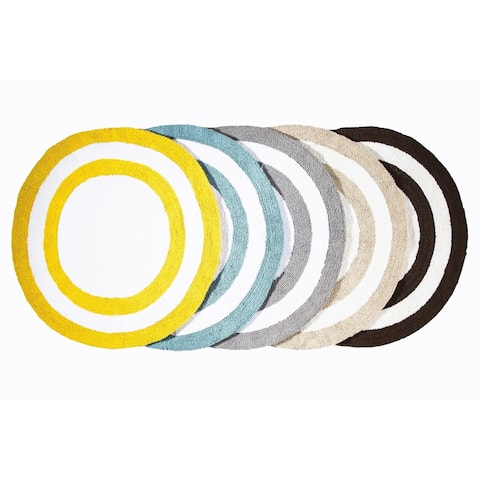 Saffron Fabs Soft Cotton, Reversible, Two-tone Pattern, 200 GSF 36-inch Round Bath Rug