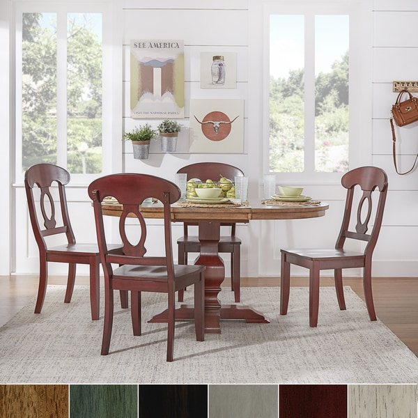 Eleanor Berry Red Solid Wood Oval Table Napoleon Back 5-piece Dining Set by iNSPIRE Q Classic