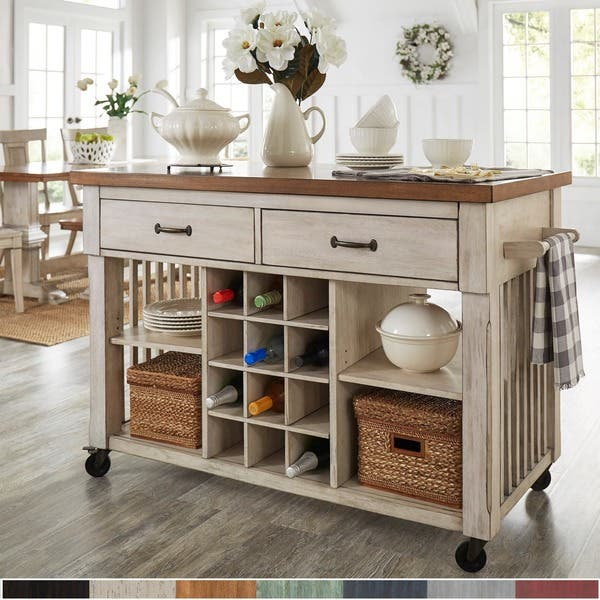 wine rack kitchen island Shop Eleanor Two Tone Kitchen Island With Wine Rack By