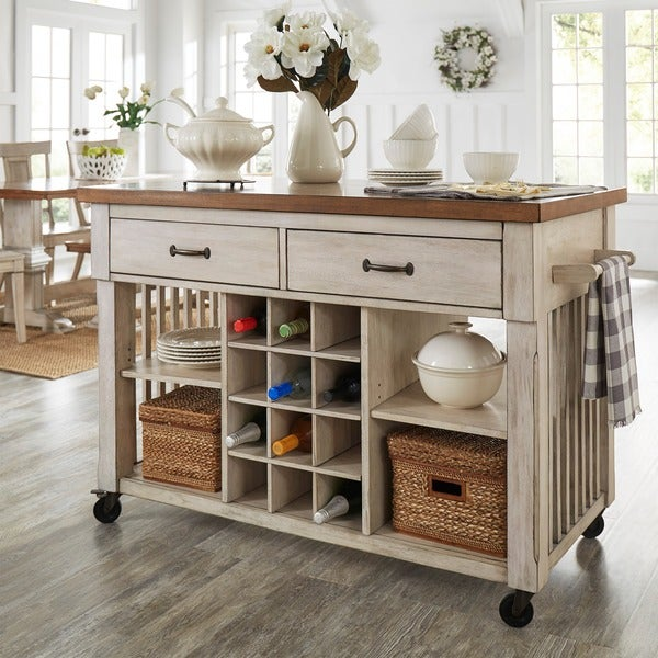 Eleanor Two-Tone Rolling Kitchen Island With Wine Rack - Free