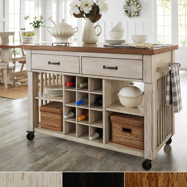 Eleanor Two Tone Rolling Kitchen Island With Wine Rack By INSPIRE Q Classic
