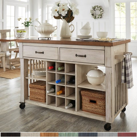 Eleanor Two-Tone Rolling Kitchen Island with Wine Rack by iNSPIRE Q Classic