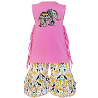 AnnLoren Girls Boutique Elephant Aztec Tunic and Capri Outfit