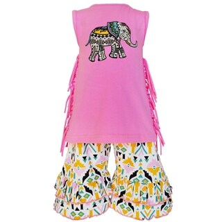 AnnLoren Girls Boutique Elephant Aztec Tunic and Capri Outfit (2 options available)