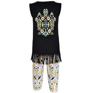 AnnLoren Girl's Boutique Cotton Tribal Tunic and Legging Capri Set