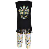 AnnLoren Girl's Boutique Cotton Tribal Tunic and Legging Capri Set
