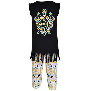 AnnLoren Girl's Boutique Cotton Tribal Tunic and Legging Capri Set (2 options available)