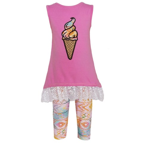AnnLoren Girls Boutique Pink Ombre Ice Cream Clothing (2-piece Set)
