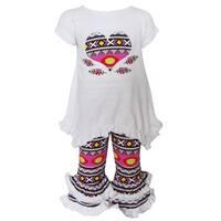 AnnLoren Girls Boutique Multicolored Cotton Tribal Heart Tunic and Capri Clothing Set