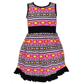 Ann Loren Girls' Boutique Black and Pink Tribal Maxi Dress