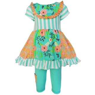 AnnLoren Girls Green Springtime Floral Damask Panel Dress & Capri Set (2 options available)